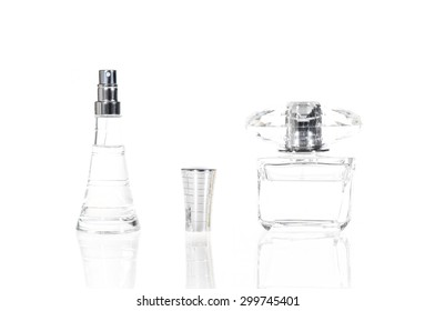 Perfume in beautiful bottles isolated on white background