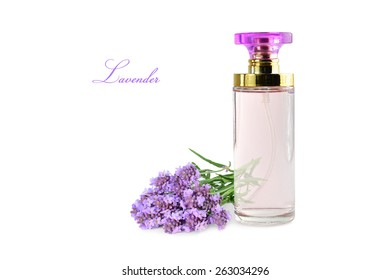 Perfume bottle with lavender flowers isolated on white background.
