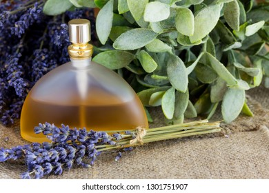 Perfume bottle with lavender scent.