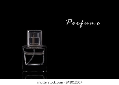 A Perfume Bottle on a Black Background.Copy Space.