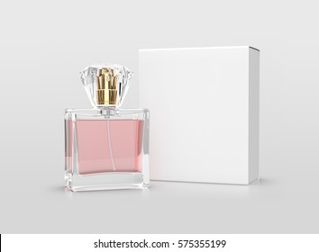 Perfume bottle with pink water and white box on white background