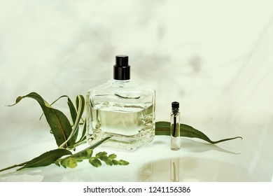 Perfume bottle and sampler with plants on a green natural background. Selective focus. Perfumery collection, cosmetics