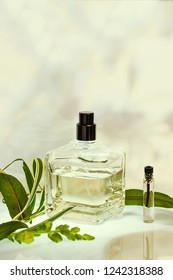 Perfume bottle and sampler with plants on a green natural background.