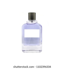 Perfume bottle with white blank label on isolated on white