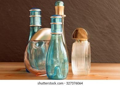 Perfume bottles closeup studio shot