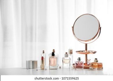 Perfume bottles on dressing table