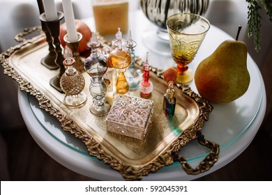 perfume bottles on the table