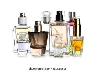 Perfume bottles on white background