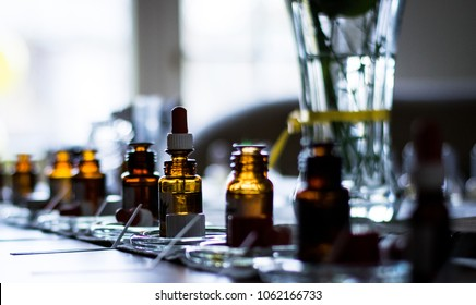 Perfume bottles in a row