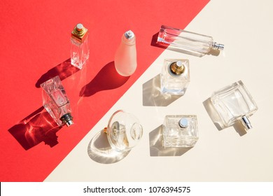 Perfume bottles with the shadows