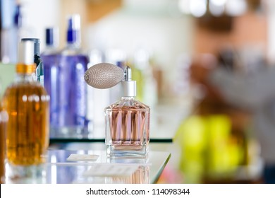Perfume in drugstore or shop for testing