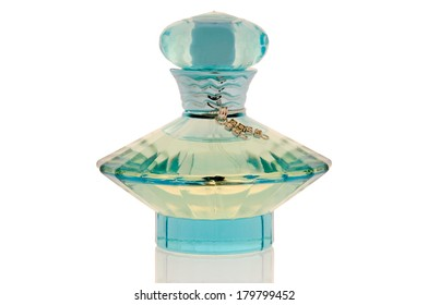Perfume in an elegant bottle on a clean white background