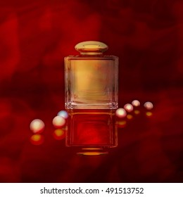 Perfume in a glass bottles and pearl beeds on gold. 3D illustration
