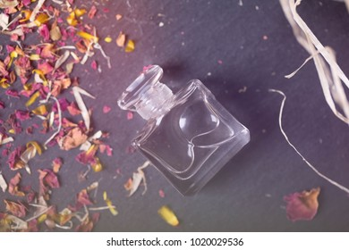 perfume lucid water  on a dark shale background/ dried flowers petals