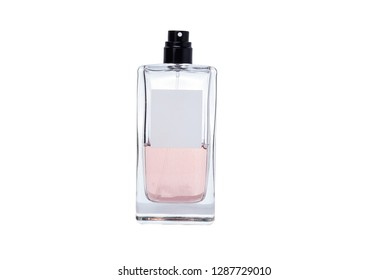 perfume pink transparent bottle isolated