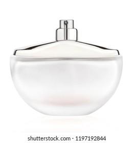 perfume spray bottle with atomizer, isolated on white background