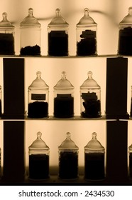 In perfumery factory. France. Vessels outlines in dark light.