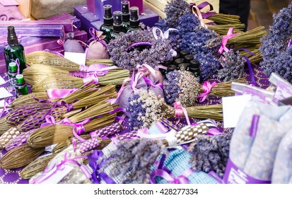 Perfumery, oil, soap, flowers and other product from a lavender on market outdoor in Europe