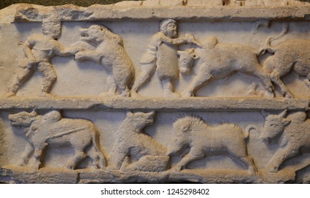 Pergamon, Acropolis -Turkey. Various marble reliefs from the 2nd century BC.