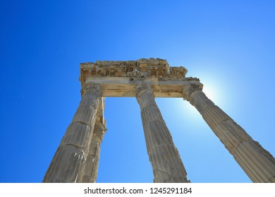 Pergamon, Acropolis-Turkey. The ruins of the temple of Traian temple. It was built during the Roman Emperor Traian period (98-161 AD).