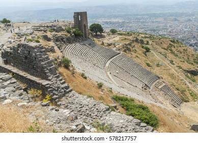 Pergamon amphitheater with view on Bergama, Turkey