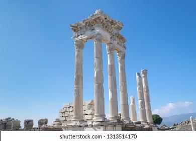 Pergamon Antique City, White columns, Bergama, Izmir