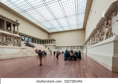 Pergamon Museum, Berlin - Germany (May 2014) Tourists inside the Hall of Pergamon museum, the most visited in Berlin. It hosts more than 1.5 million visitors per year.