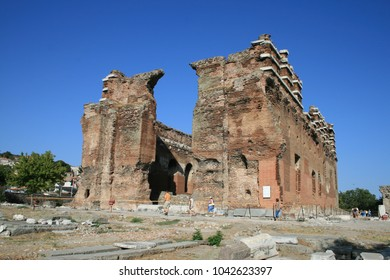 PERGAMON, TURKEY - AUGUST, 09, 2008: The Red Basilica, also called variously the Red Hall, is a monumental ruined temple in the ancient city of Pergamon, now Bergama, in western Turkey