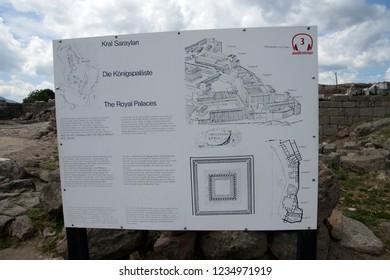 PERGAMUM, TURKEY - May 24, 2014 - Diagram of the Royal palaces of  Pergamum above Bergama, Turkey