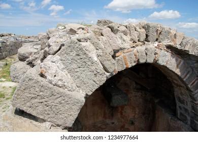 PERGAMUM, TURKEY - May 24, 2014 - Ruins of Hadrian's granaries in  Pergamum near Bergama, Turkey