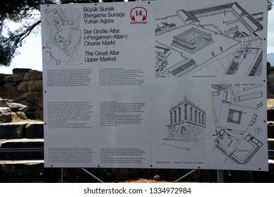 PERGAMUM, TURKEY - May 24, 2014 - Archaelology sign showing plan of  Great Altar and upper market agora, , possibly Priam's city of the Iliad, . Turkey