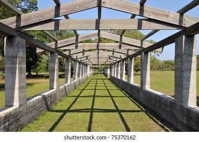 Pergola at the Dungeness ruins at Cumberland Island, Georgia, on a sunny spring day