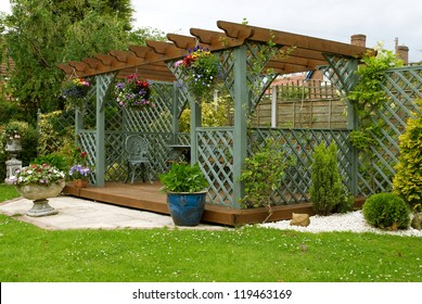 A pergola in an English urban garden