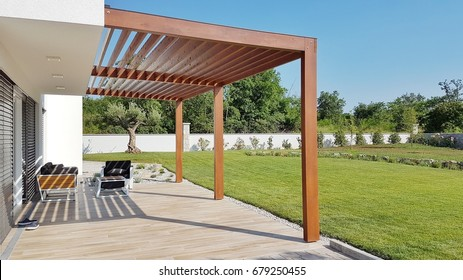 Pergola over terrace and home garden