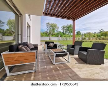 Pergola and terrace of modern prefabricated house