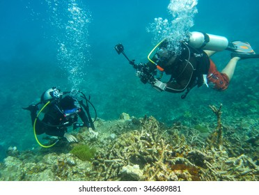 Perhentian Island, Malaysia - 21 Jun 2015:  Underwater photographer dive in Perhentian Island, Malaysia.