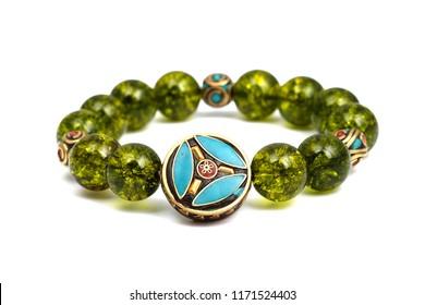 peridot bracelet beads green or lucky stone decorate whit chakra amulet