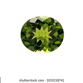 peridot natural gems stone oval shape isolate