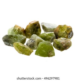 Peridot rough specimens on white background