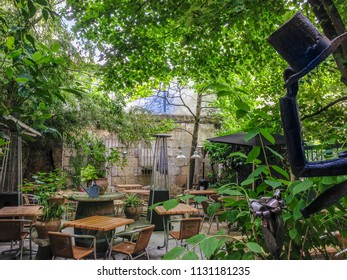 Perigueux, Périgord / France - May 21 2014: The gardens of the Le Clos Saint Front Restaurant in Perigueux