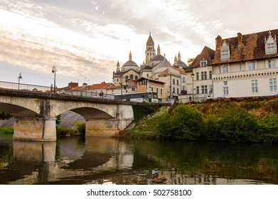 PERIGUEUX, FRANCE - OCT 11, 2016: Isle river and town of Perigueux, France. The town is the seat of a Roman Catholic diocese.