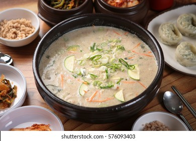 perilla octopus sujebi korean style pasta soup, korea traditional stew