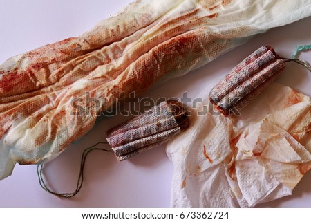 period tampon sanitary napkin used stock photo edit now 673362724