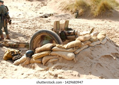 A period WW2 German infantry support  howitzer in a defensive position