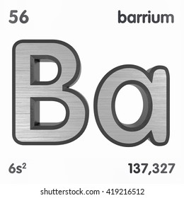 Periodic Table of Elements. Barium. 3d title Isolated on white. 3D rendering