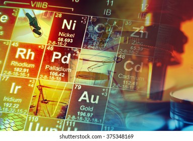 Periodic table of elements and laboratory tools. Science