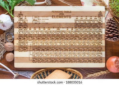 Periodic Table Engraved Bamboo Wood Cutting Board, Science Gift, Chemistry Teacher, Student, Kitchen, Art Graduation or Wedding Gift - Shutterstock ID 188035016