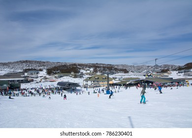 PERISHER, AUSTRALIA, JUNE 15TH 2017. People on vacation practicing ski and snowboard sport at Snowy Mountain.