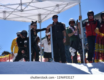 Perisher, Australia - Sept 30, 2018. People enjoy Pond Skimming. The pond-skim is an end of season ritual at many resorts across the country, a fun way to celebrate the end of the winter season.