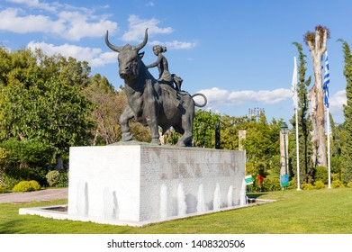 PERISTERI, GREECE - MAY 2: Statue of the abduction of Europa on May 2, 2019 in Peristeri, Athens, Greece. Peristeri is a suburban municipality in the northwestern part of Athens.